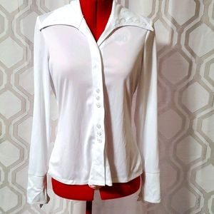 70's style white button up
